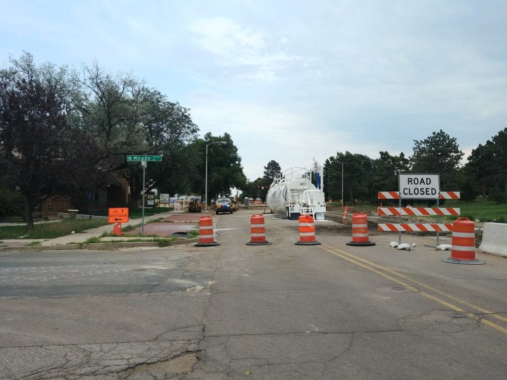 Road access is blocked to head east on Pikes Peak Avenue as part of the two-year, $17 million Pikes Peak Avenue Reconstruction Project in Colorado Springs.
