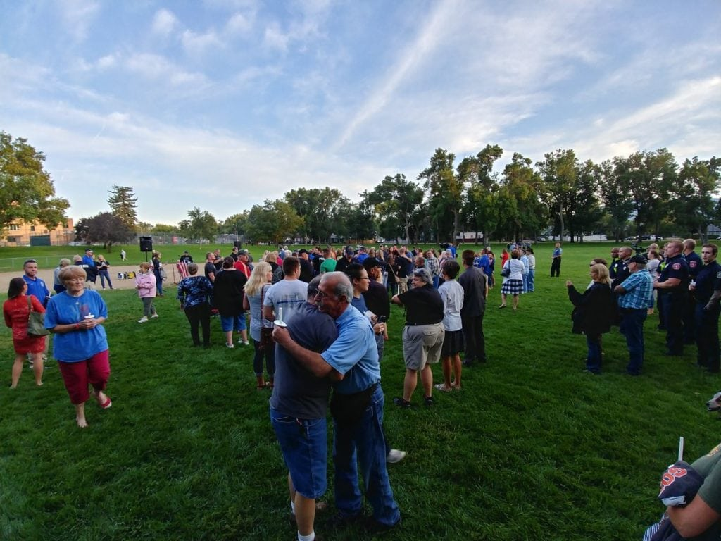 Hundreds of people met in Boulder Park to say prayers and show their support for Colorado Springs Police Officer Cem Duzel on Friday, August 3, 2018. Duzel was shot in the line of duty on August 2, 2018.