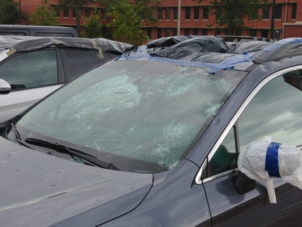 A car on Fort Carson is a total loss following a hail storm August 6, 2018.
