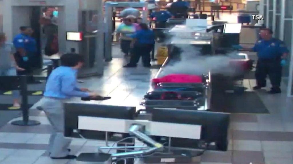 Smoking bag at TSA checkpoint