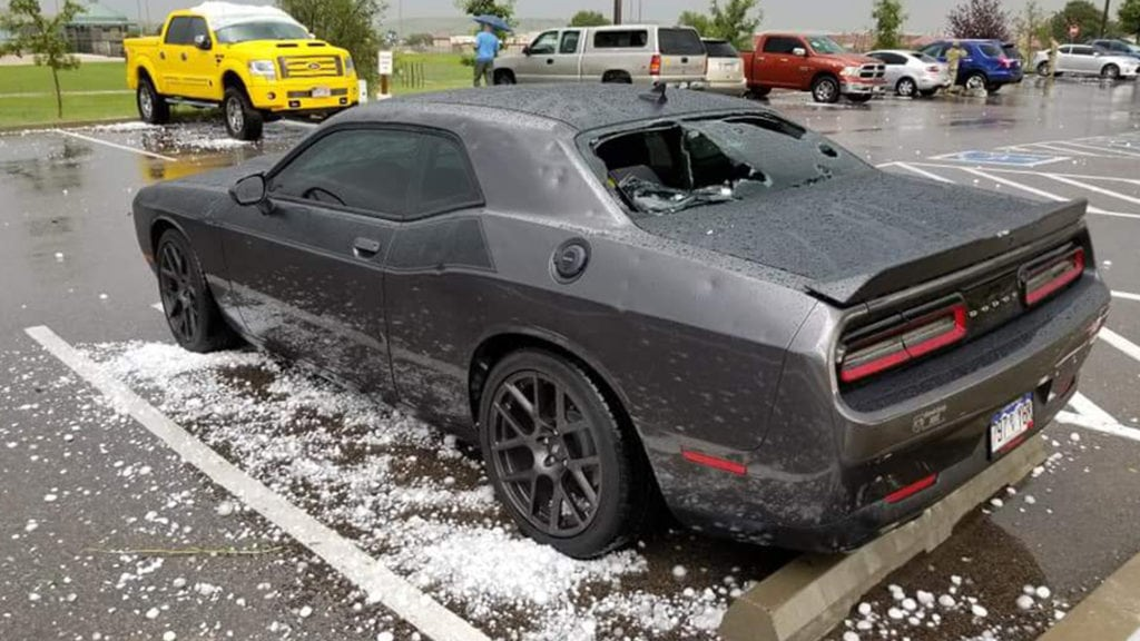 Challenger damaged by hail