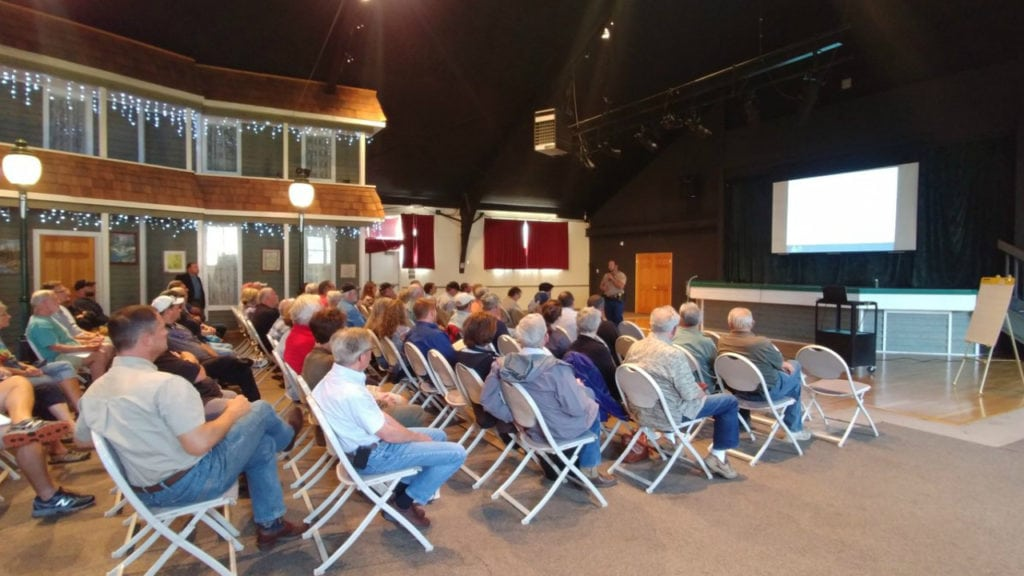 Some 50 residents attend a meeting hosted by Colorado Parks and Wildlife about the city's options for deer management on August 14, 2018.