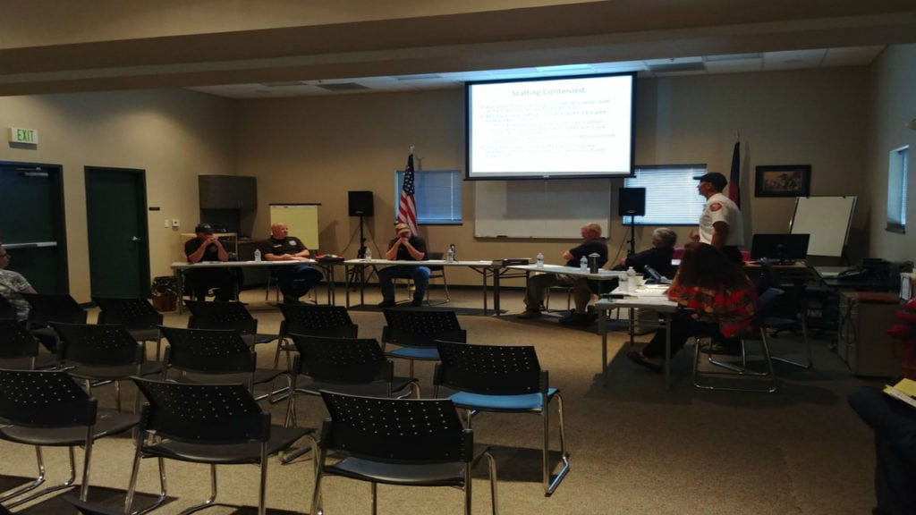 The Black Forest Fire Rescue Board of Directors hosts a meeting on August 15, 2018, detailing the fire district's mill levy proposal.