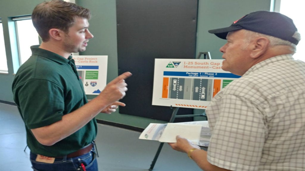 The Colorado Department of Transportation hosts an open house regarding the I-25 South Gap Project on August 20, 2018.
