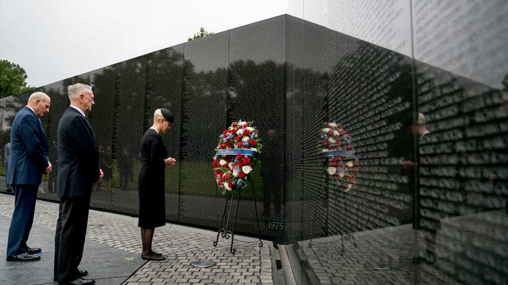 Cindy McCain at Vietnam War Memorial