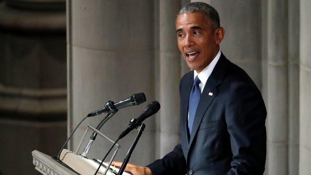 Barack Obama speaks at McCain funeral