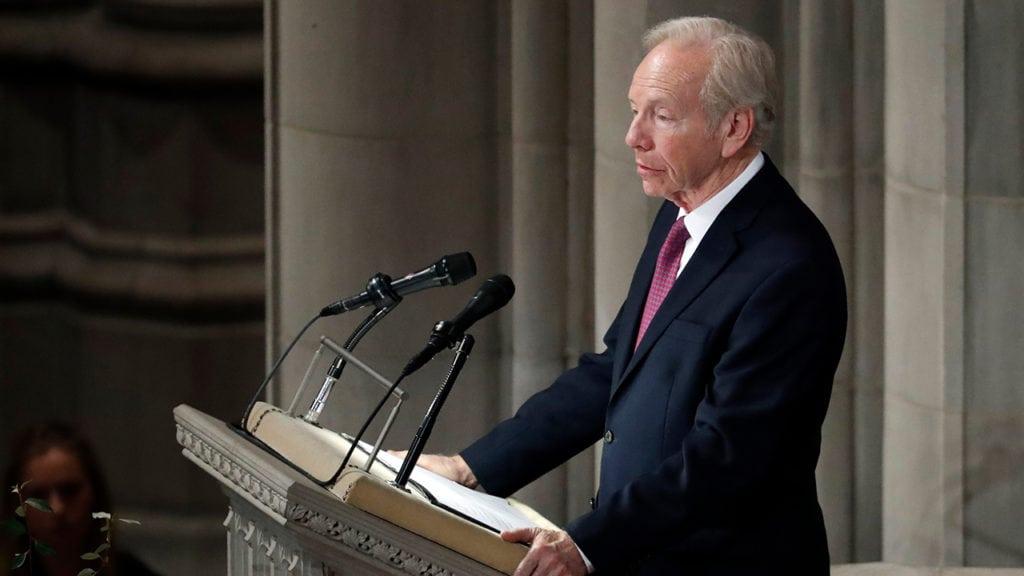 Lieberman speaks at McCain's funeral