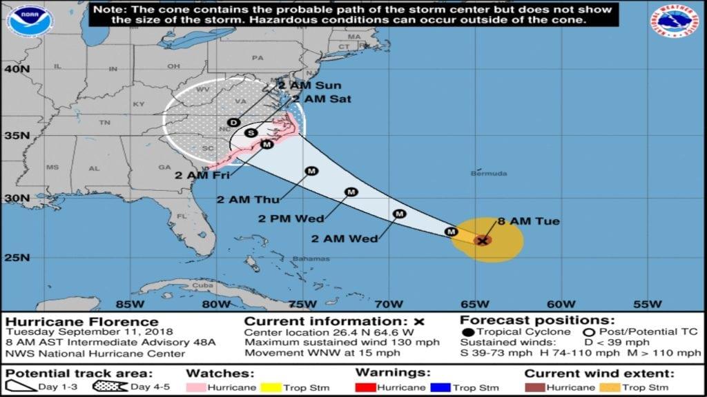 Hurricane Florence Track 9-11-2018 8am