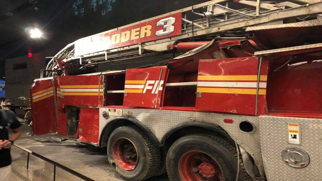 The Ladder truck for FDNY Station 3 is on display at the National September 11 Memorial and Museum in New York City. The truck was destroyed following the collapse of World Trade Center's north tower, and most of the station's firefighters lost their lives.