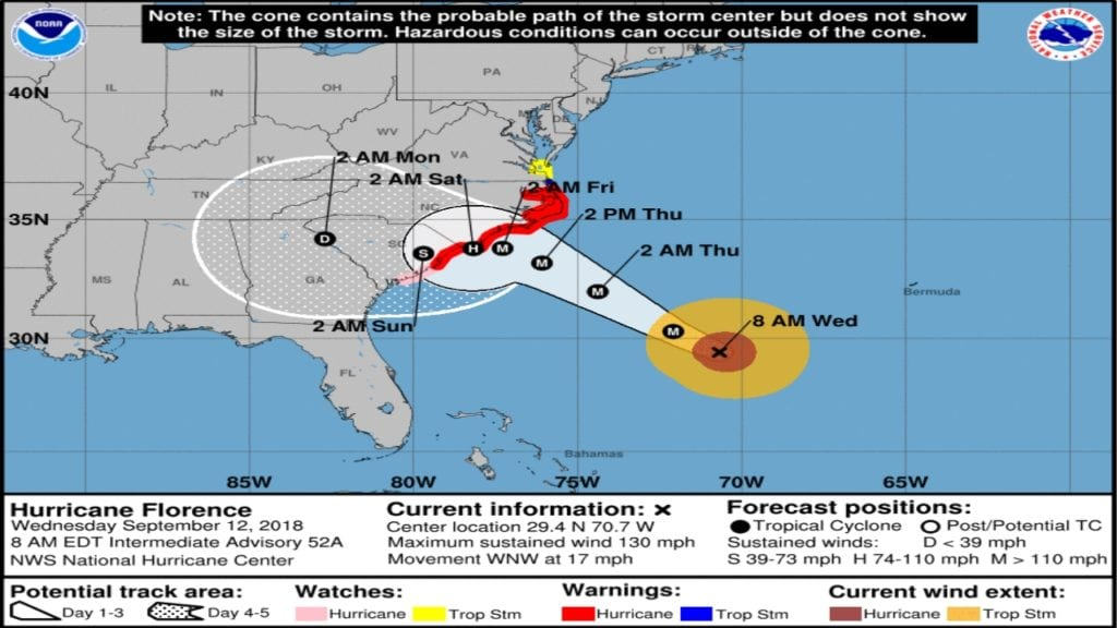 Hurricane Florence Track 9-12-2018 8am