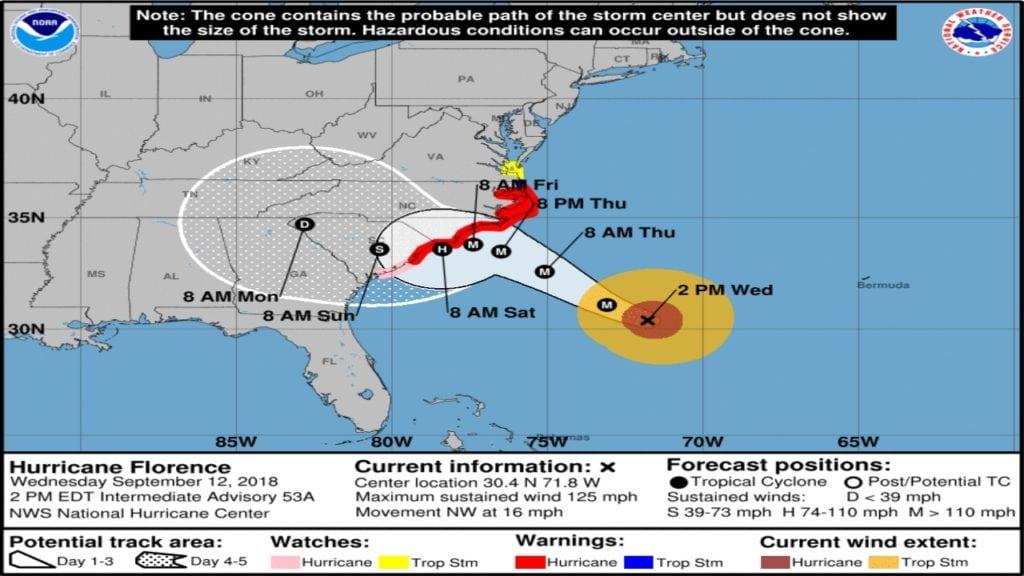 Hurricane Florence Track 9-12-2018 2pm