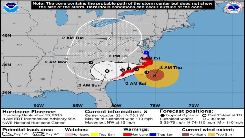 Hurricane Florence Track 9-13-18 8am