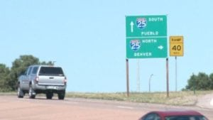 I-25 exit on North Academy Boulevard where Schiff's daughter commutes to get to the Air Force Academy's South Gate.