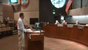Roger Lovell with the Pikes Peak Regional Building Department speaks to El Paso County Commissioners