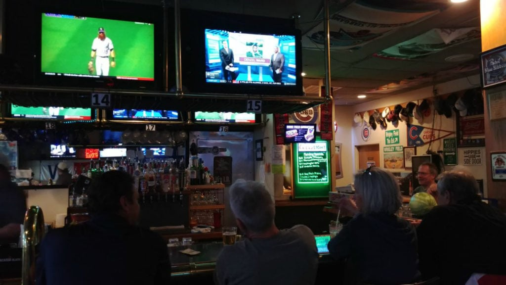 Rockies and Broncos fill Overtime Sports Bar and Grill on Oct. 1, 2018. The Rockies played in a one-game division championship game, while the Broncos hosted the Chiefs on Monday Night Football. Sports bars made weekend-like profits Monday.