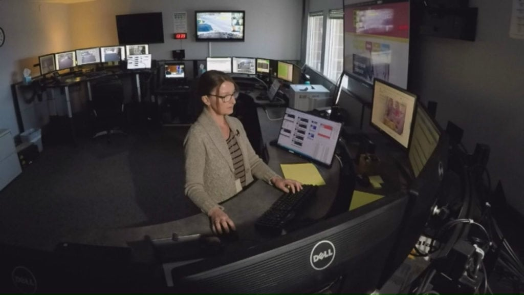 A dispatcher for Safe 2 Tell works inside the program's dispatch center. The program allows students, parents, teachers and more to anonymously report threats to life, including suicide threat reports.