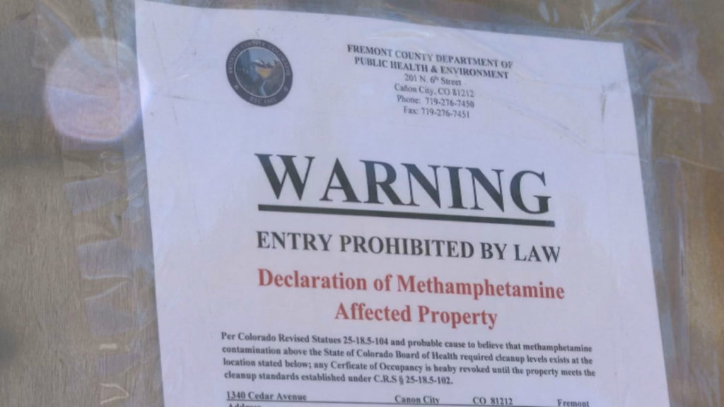 """Fremont County authorities declare the property at 1340 Cedar Avenue in Canon City a """"meth affected property"""" after an environmental quality assessment. Neighbors believe the property was responsible for a stinky smell in the neighborhood."""