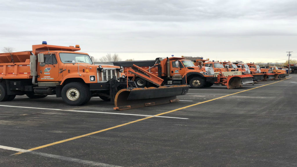 Colorado Department of Transportation snowplow trucks sit on standby before noon on Oct. 30, 2018. Southern Colorado is expected to receive significant snowfall on Oct. 30 heading into Oct. 31.