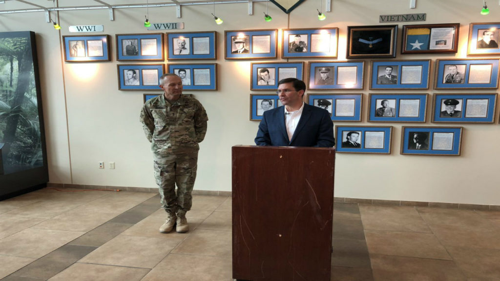 Secretary of the Army Dr. Mark T. Esper speaks at a press conference following a visit to Fort Carson on Oct. 31, 2018. The visit happened the same day the Department of Defense announced Fort Carson soldiers would be among thousands headed south to help secure the border.