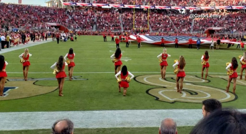 49ers-cheerleader-takes-a-knee