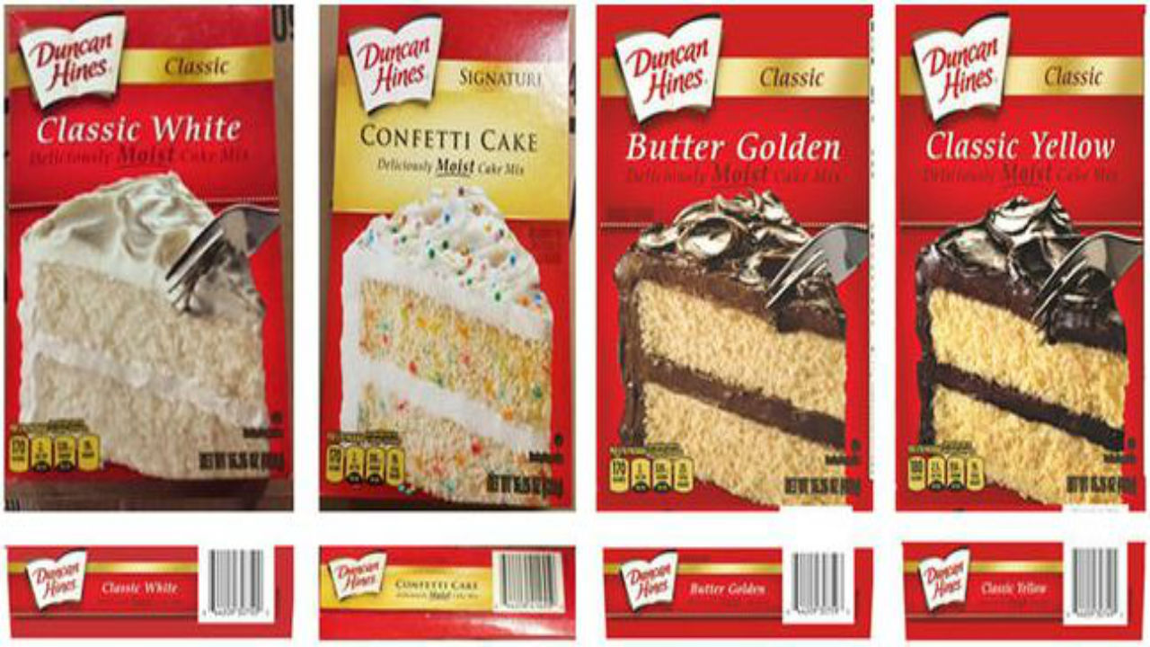 """Out of an abundance of caution, four varieties of Duncan Hines cake mixes are being recalled due to possible Salmonella contamination. Author: TEGNA Published: 8:16 PM MST November 5, 2018 Updated: 8:16 PM MST November 5, 2018 Four different Duncan Hines cake mixes are being recalled because they may be contaminated with Salmonella. Conagra Foods says the recall involves its Classic White, Classic Butter Golden, Signature Confetti, and Classic Yellow, all with specific """"best by"""" dates.  Salmonella was found in a retail sample of Duncan Hines Classic cake mix, the company said, and that sample may be linked to an outbreak being investigated by the Centers for Disease Control and Prevention, and the Food and Drug Administration. Congagra said there has not been a definitive link made, but it is voluntarily recalling the four cake mixes made during the same time period as a precaution. Five Salmonella-related illnesses are being researched as part of the investigation, Conagra said.  Here are the varieties and their """"best by"""" dates.  Duncan Hines Classic White Cake 15.25oz  UPC: 644209307500  Best if used by date: March 7-13, 2019  Duncan Hines Classic Yellow Cake 15.25oz  UPC: 644209307494  Best if used by date: March 9-13, 2019  Duncan Hines Classic Butter Golden Cake 15.25oz  UPC: 644209307593  Best if used by date: March 7-9, 2019  Duncan Hines Signature Confetti Cake 15.25oz  UPC: 644209414550  Best if used by date: March 12-13, 2019"""