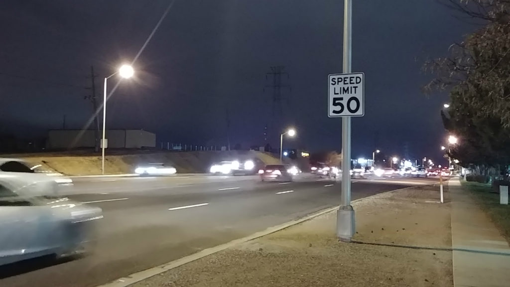 Traffic flows in both directions on Academy Boulevard in Colorado Springs on Nov. 7, 2018. Later this month, the city will reduce the speed limit on a stretch of Academy and three other roads to improve road safety.
