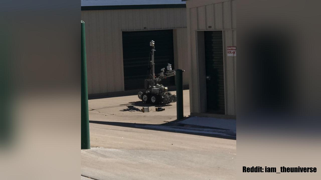 Bomb squad robot at storage unit