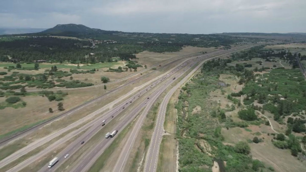 A look above part of the I-25 Gap. Construction crews are expanding the interstate in both directions as part of a $350 million project set for completion in late 2021.