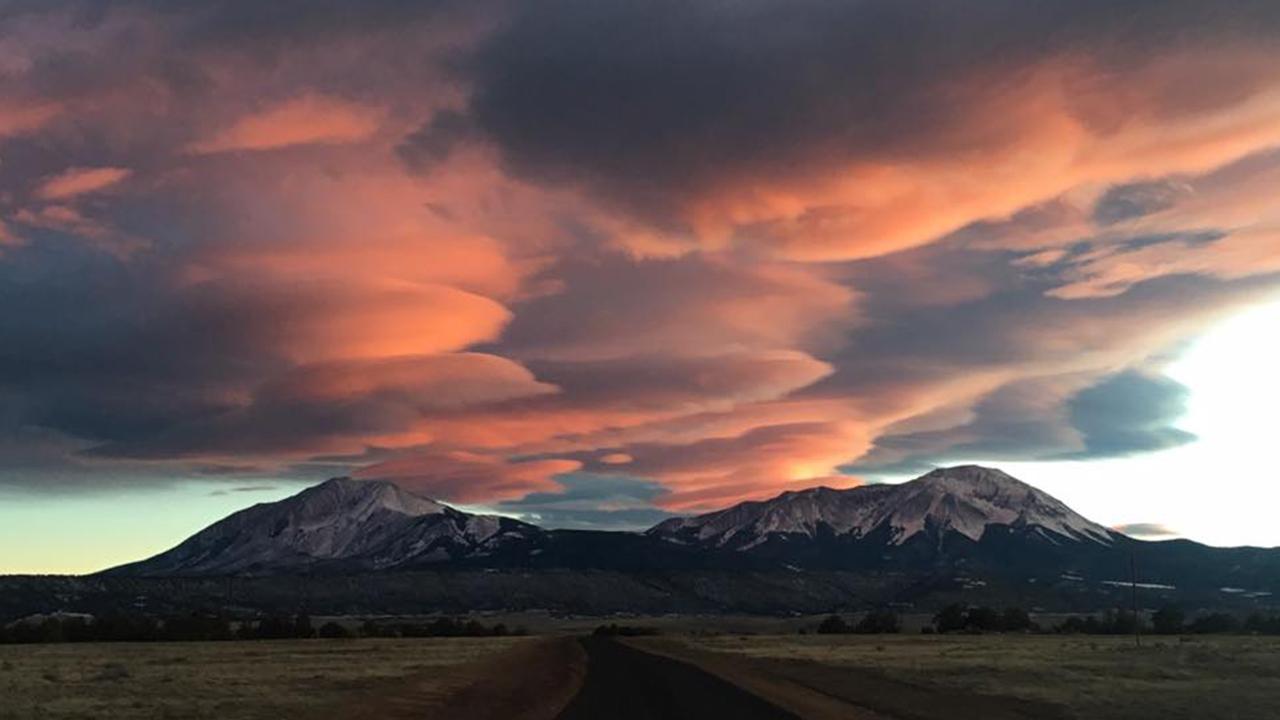 Spanish Peaks at sunset