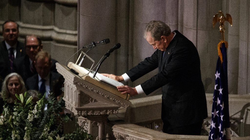 George W Bush at father's funeral
