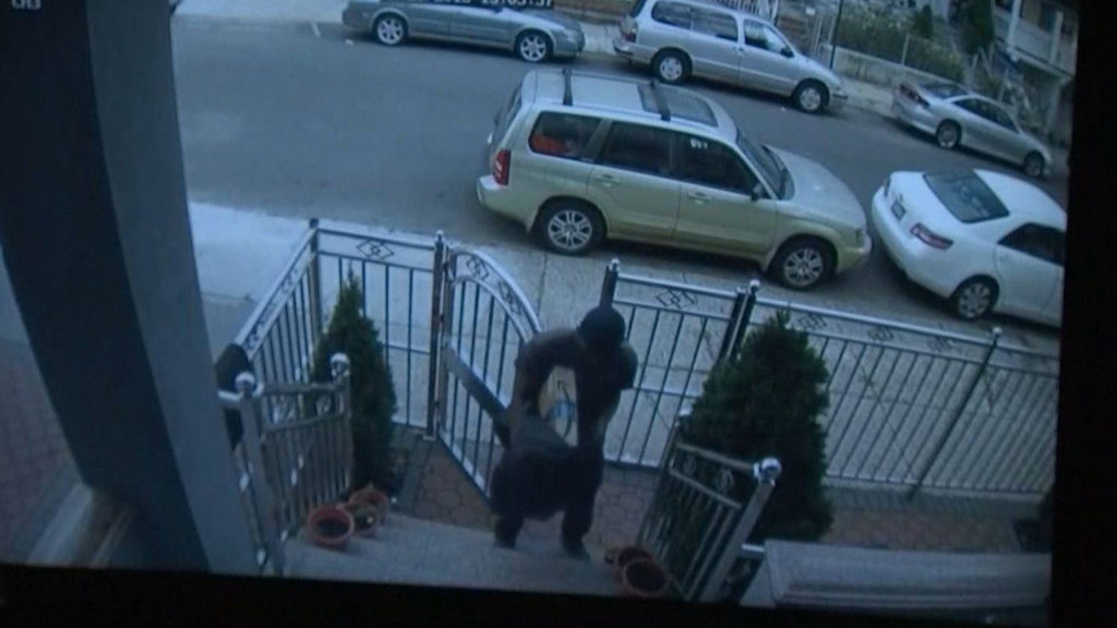 Porch pirates surveillance video