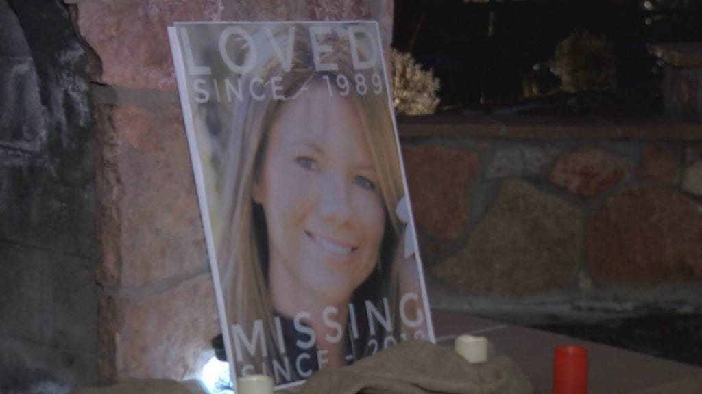 A display at a candlelight vigil in Woodland Park for Kelsey Berreth, who's been missing since Thanksgiving 2018.