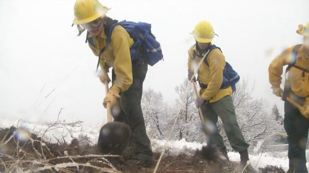 A handful of new firefighters hone their skills at the Colorado Wildland Fire and Incident Management Academy in Colorado Springs on Jan. 11, 2019.