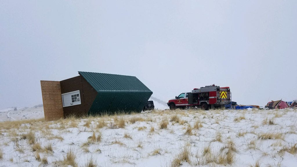 Tiny home blown over
