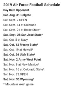 Air Force 2019 Football Schedule