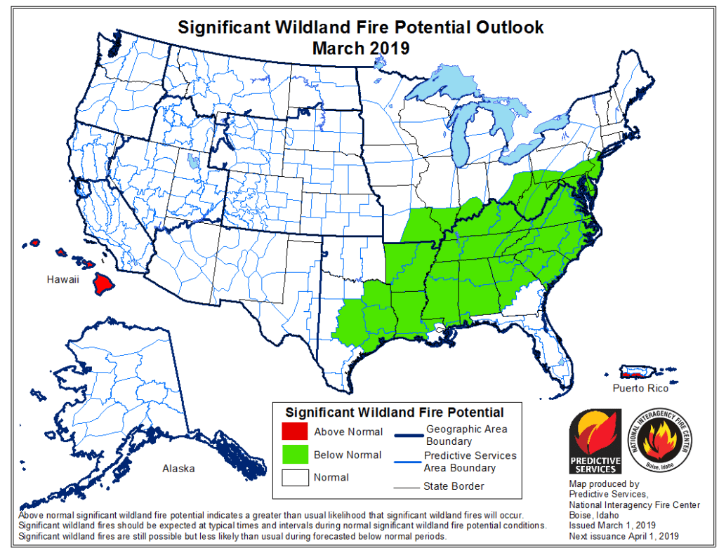 The National Interagency Fire Center released its wildfire potential outlook for March 2019. It shows Colorado and much of the West in normal fire danger areas, a welcome sign from above normal danger in 2018.