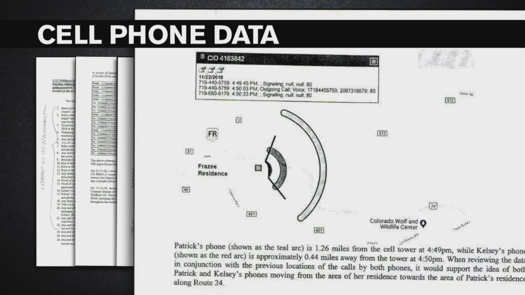 This figure, included in a search warrant, shows Kelsey Berreth and Patrick Frazee's cell phones traveling southwest toward Florissant on Thanksgiving Day. Cell phone experts and police say it shows Frazee lied about his last contact with her.