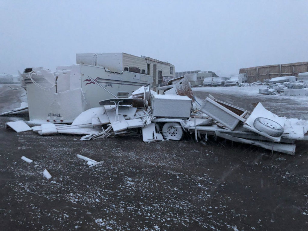 The Falcon Storage Center suffered thousands of dollars in damage after a tornado dropped down on March 29, 2019.