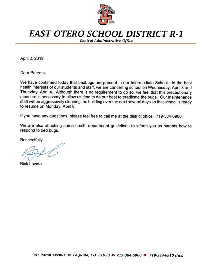 La Junta Intermediate School closure letter