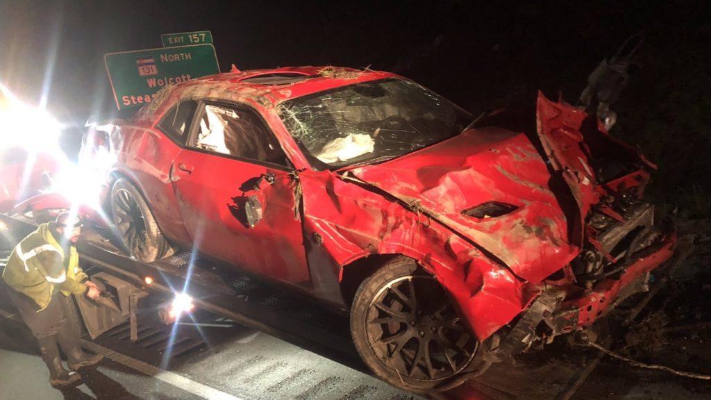 Crashed Dodge Challenger Hellcat