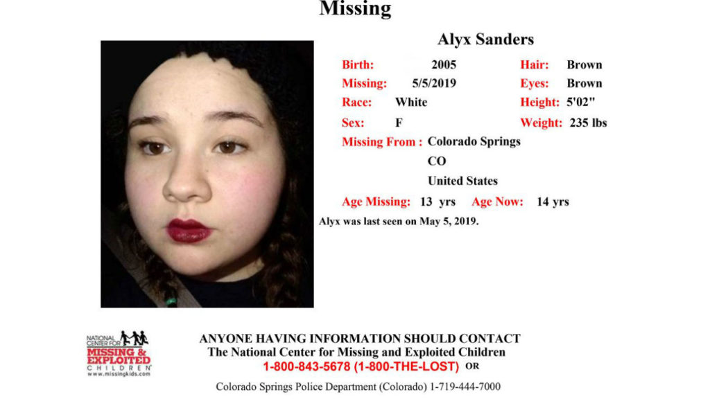 Alyx Sanders missing poster