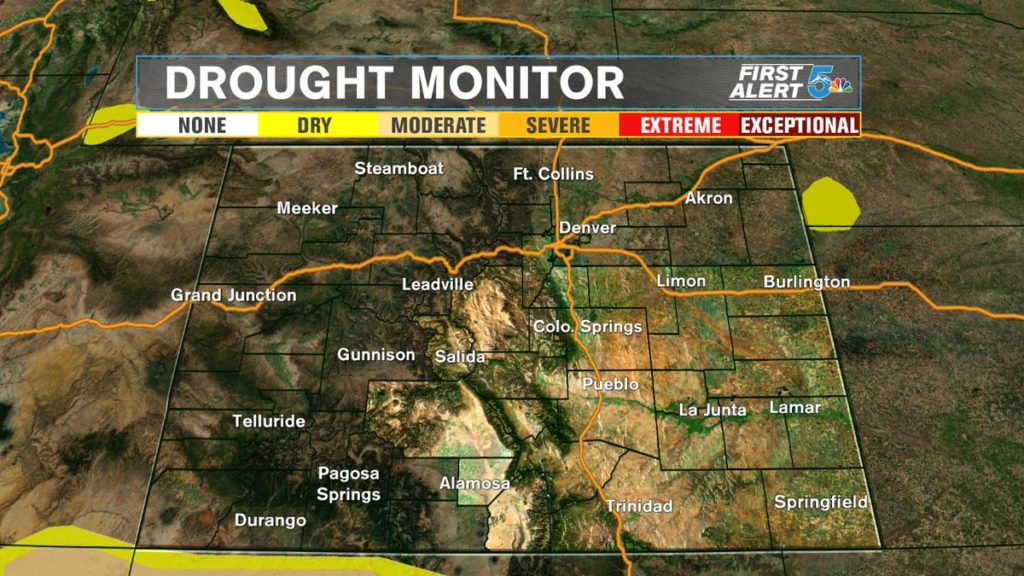 Colorado Drought Map Recent storms clear Colorado's drought map