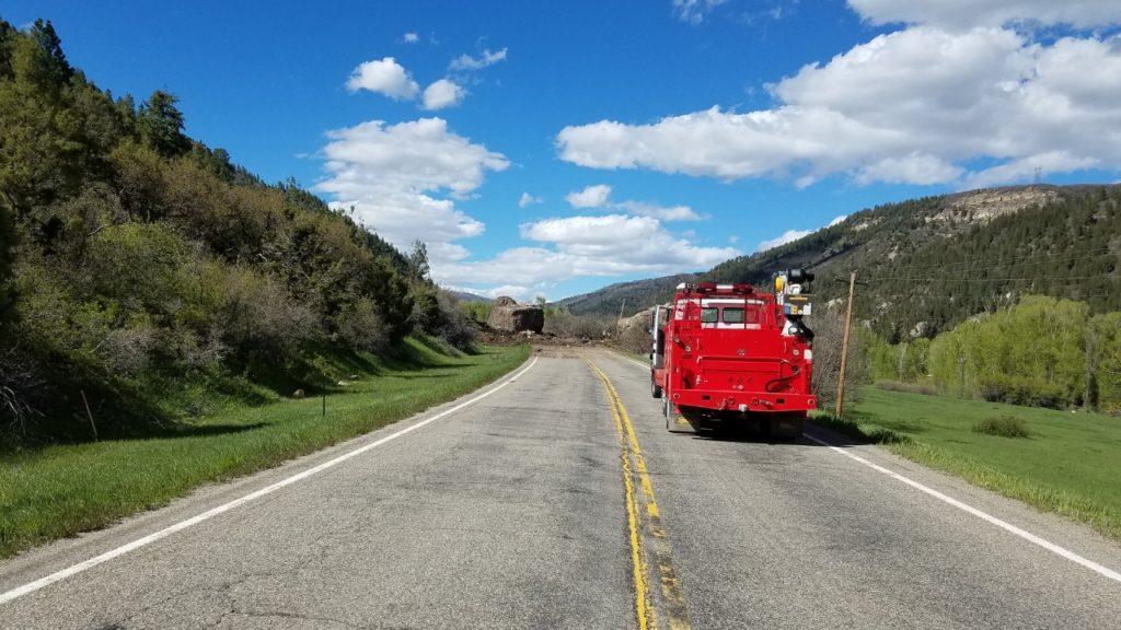 Boulder blocks Highway 145