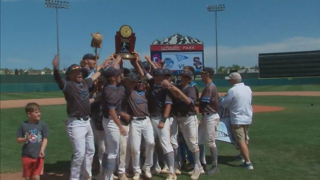 The Pueblo West Cyclones hoist the 4A State Baseball Championship trophy after defeating Silver Creek 8-6 on June 1, 2019. The win marks their first baseball title in school history.