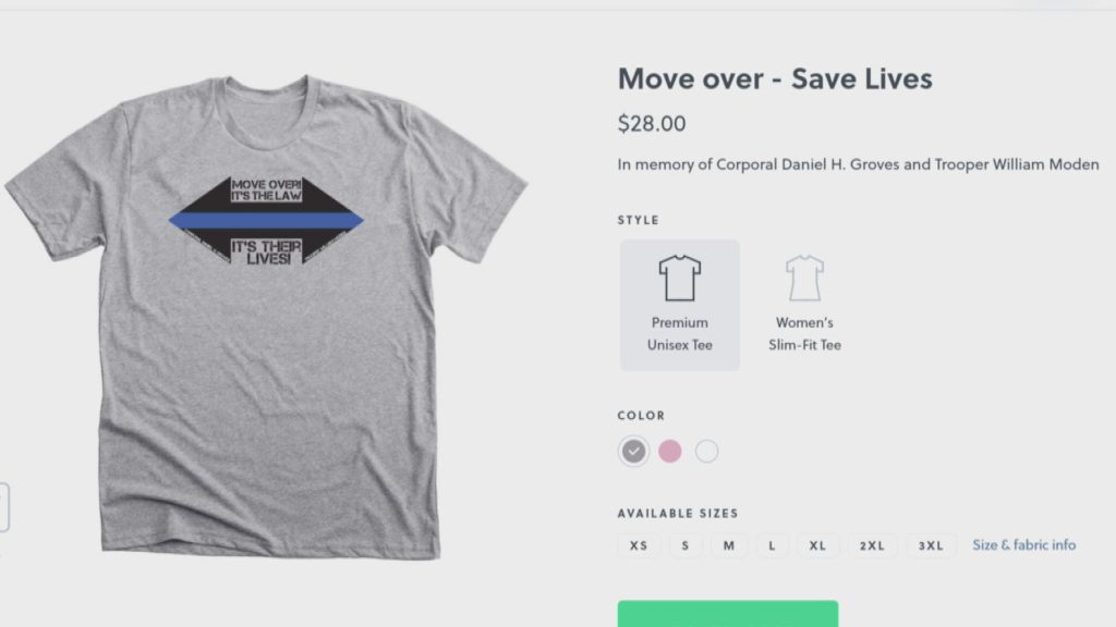 The Colorado LEO Wives Facebook group is selling these shirts to raise money for the families of Trooper William Moden and Corporal Daniel Graves. Both were killed in the line of duty in 2019.